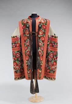 Mantle Date: 1840–70 Culture: Hungarian Medium: wool, leather, cotton Hungarian Mantles are loose coats similar to dolmans.