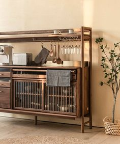yen-hao chu combines clean lines and solid wood for the muzhi cupboard Chinese Furniture, Wood Furniture, Furniture Design, Kitchen Furniture, Cupboard Design, Kitchen Design, Kitchen Cupboards, Kitchen Interior, Interior Plants