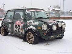 Old school Mini rally car Mini Cooper Classic, Mini Cooper S, Classic Mini, Classic Cars, Rat Rods, Mini Morris, Colin Mcrae, Automobile, Small Cars