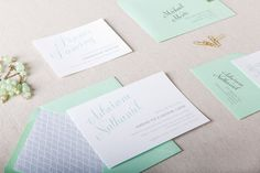 Olivia Wedding Invitation in Mint and Grey  SAMPLE by ChelseyEmery