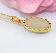 H5243 Royal Oval White Rutile Gold Plated Pendant Chain Necklace @ FREE SHIPPING #Handmade #Pendant