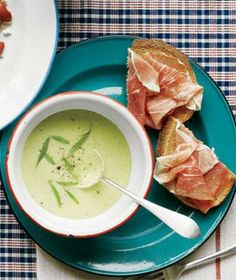 Cucumber-Avocado Soup With Prosciutto Toasts recipe