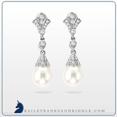 Penny Preville #diamond and pearl #earrings in 18k white gold (3/8 carat t.w.)