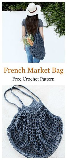 French Market Mesh Bag Free Crochet Pattern #freecrochetpatterns