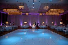 Austin Texas Event, Floral Pinspotting, Cake Pinspotting, Purple, Blue, Room Wash, Uplighting, Chandeliers, Drapery Lighting, Centerpiece lighting, Intelligent Lighting Design, ILD Lighting,