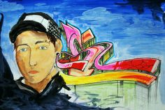 Acuarela sobre papel de Tristán Sotomayor.  Autorretrato / Clase de Arte