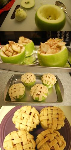 Mini apple pies.  Step 1: Cut the top of 4 apples off. Remove the inside of each apple with a spoon.  Step 2: Chop up additional apples for filling, removing skin and slice very thinly.  Step 3: Mix sliced apples with sugar, brown sugar, and cinnamon in a bowl. Scoop sliced apples into hollow apples. Step 4: Roll out pie crust and slice into 1/4 inch strips. You can also add a strip of pastry inside the top of the apple almost like a liner to add a little more texture to the mini pies. Cover…