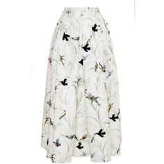 Rochas Bird Print Faille Full Skirt With Allover Embroidery ($5,960) ❤ liked on Polyvore featuring skirts, rochas, bird print, full skirt, mid length pleated skirt, pleated skirt and embroidered skirt