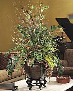 Silk Cycas & Croton Mixed Planter
