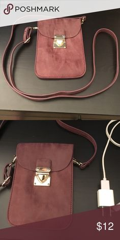Burgundy Crossbody Purse Francesca's Crossbody with Gold clasp and adjustable strap. Charger next to it for size reference. 2 sections inside with card holders!  Francesca's Collections Bags Crossbody Bags