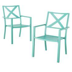 Threshold Afton 2-Piece Metal Patio Stacking Chair Set - Turquoise