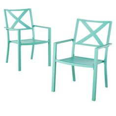 Threshold™ Afton 2-Piece Metal Patio Stacking Chair Set $110