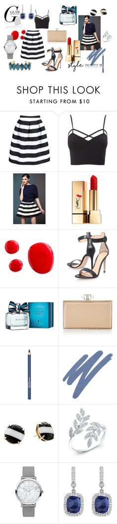 """""""Striped skirt passion"""" by mariyushka on Polyvore featuring Charlotte Russe, Yves Saint Laurent, Gianvito Rossi, Tommy Hilfiger, Judith Leiber, ZuZu Luxe, NARS Cosmetics, Kate Spade, Penny Preville and Elizabeth Cole"""
