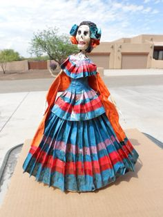 Day of the Dead Catrina DOLL Mexican folk art hand made paper mache southwest | eBay