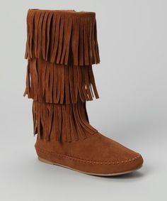 Take a look at this Chestnut Bimbi Fringe Boot by Bamboo on #zulily today!