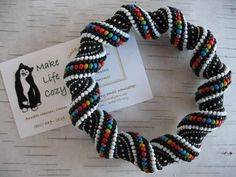 Rainbow Cellini Spiral Bracelet in Glass Seed Beads