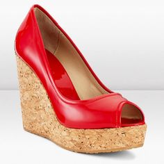 -Red-Patent-Peep-Toe-Cork-Wedge-Pumps-