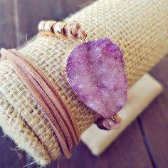 Druzzy Natural Amethyst Statement Bracelet