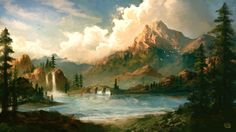 This is an environment concept for a client of mine who is putting together an independent film. Mountains of Bolvero Fantasy Art Landscapes, Fantasy Landscape, Beautiful Landscapes, Landscape Paintings, Environment Concept Art, Environment Design, Episode Backgrounds, Classic Paintings, Fantasy Setting