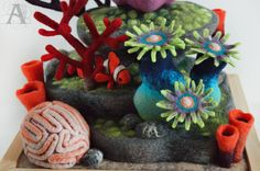 Needle felted coral reef by TEPLIZAworkshop on Etsy https://www.etsy.com/listing/519157923/needle-felted-coral-reef