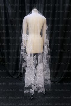 Got Married, Getting Married, Flower Veil, Mantilla Veil, Wedding Veil, Embroidered Flowers, Off White, Tulle, Embroidery