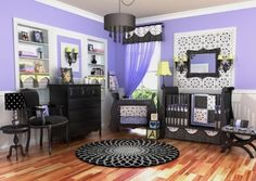 Really Pretty Black and Purple Baby Bedding For Girls