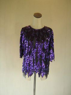 IRIS Violet Sequin Sheer Slouchy Shirt Top by RetroFascination Slouchy Shirt, Disco Fashion, Sequin Top, Iris, Sequins, Purple, Clothes, Color, Etsy