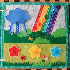 Rain cloud velcros onto a sunshine. Flowers button on. Color dots velcro on the rainbow.
