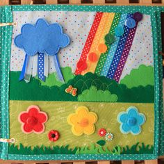 Rain cloud velcros onto a sunshine. Flowers button on. Color dots velcro on the rainbow.