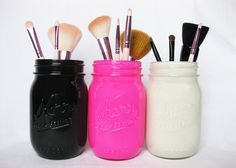 Painted Mason Jars Black Mason Jar Pink by TheCraftyEngineerx, $15.00