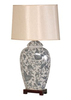 Blue Paisley Lamp with Shade