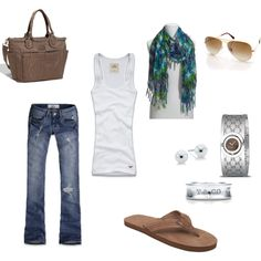 Mom's uniform, created by #akfoster on #polyvore. #fashion #style Hollister Co. #Gucci