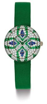 BLANCPAIN. A LADY'S UNIQUE 18K WHITE GOLD, DIAMOND, EMERALD AND SAPPHIRE WRISTWATCH