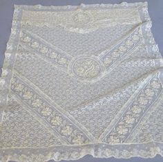 Antique French Ecru Normandy Lace Pram Carriage Summer Cover Embr Roses Flowers | eBay