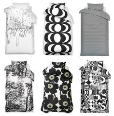 Black and white bed linen by Marimekko