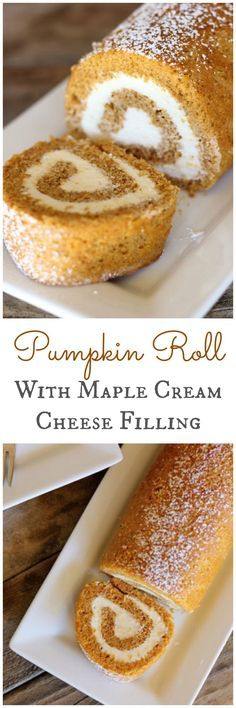 Pumpkin Roll With Maple Cream Cheese Filling.... holy crap- this takes it up a notch MAPLE cream cheese, drool........
