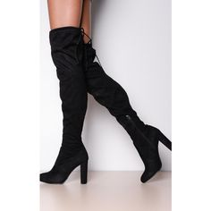 LILY LULU FASHION Thigh High Tie Back Faux Suede Heeled Boots Black ($50) ❤ liked on Polyvore featuring shoes, boots, black, black over-the-knee boots, black boots, faux-fur boots, suede thigh high heel boots and fake boots