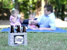 "Tell Dad ""Thanks"" this Father's Day with a Beer Greetings six-pack carrier + greeting card in one filled with his favorite beer (or soda, hot sauce, olive oils, BBQ sauce, etc)!"
