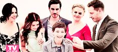 In order from left to right: Row Regina-Henry's adopted mother, Belle-Henry's step grandmother, Hook-Henry's stepfather, Emma-Henry's Biological mother, Prince Charming-Henry's biological grandfather. What a lovely family portrait gif thingy! Abc Shows, Best Tv Shows, Best Shows Ever, Favorite Tv Shows, Movies And Tv Shows, Once Upon A Time, Captain Swan, Captain Hook, Emma Swan