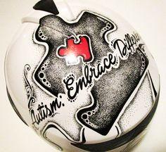 #Autism theme #motorcycle helmet #sharpie art