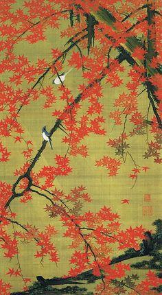 """動植綵絵 第三期 ( 1765-1766 ) , 30. 紅葉小禽図[こうよう しょうきん ず], """"Pictures of the Colorful Realm of Living Beings"""", Jakuchu Ito"""
