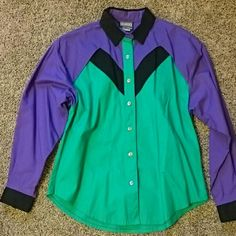 Purple and Green Western Shirt Roughrider by Circle T Western shirt, long sleeved, button front. Purple , green, and black with key-hole cut out in the back. Size Large. Flat measurements are: Bust - 22 inches, Length from collar to hem - 30 inches, Sleeve length - 22 inches. New, no tags. Roughrider by Circle T  Tops Button Down Shirts