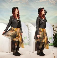 Love Culture Faux Leather Jacket, Romwe Galaxy Skirt, Just Fab Studded Boots