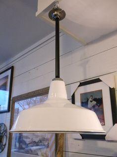 Vintage White Porcelain RLM Industrial Pendant Light by bradandres $165