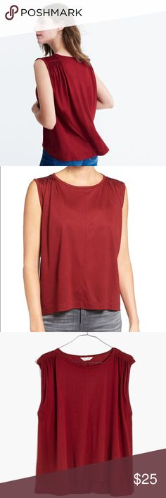 Madewell Overture Tank Overture Tank from Madewell in a rich red, perfect for fall transition!  Lightweight, drapery viscose makes it easy to elevate your outfit.  Size XXS.  Looser fit. In excellent condition, I don't think I ever wore this! Madewell Tops Tank Tops