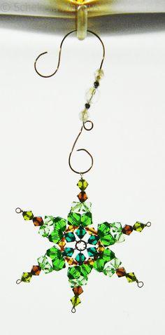 3 Inch Swarovski Crystal Snowflake Ornament Greens and Browns