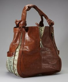 Take a look at this Brown Crocodile Marky Leather Hobo by Vintage Reign on #zulily today!