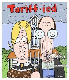 Tarriff-ied History Cartoon, Art History, Joni Ernst, Trump Cartoons, Grant Wood, American Gothic, Instagram Images, Instagram Posts, The New Yorker