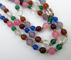 Glass Bead Necklace  Deco Multi-color round and by JanesVintage