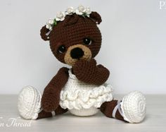 crochet bear Elfin Thread- Bonbon, the Ballerina Bear Amigurumi PDF PAttern (Crochet Ballerina Bear) - Crochet Bear, Cute Crochet, Crochet Dolls, Crocheted Animals, Beautiful Crochet, Amigurumi Patterns, Amigurumi Doll, Crochet Patterns, Doll Patterns